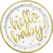 "Hello Baby Gold 9"" Paper Plates (8)"